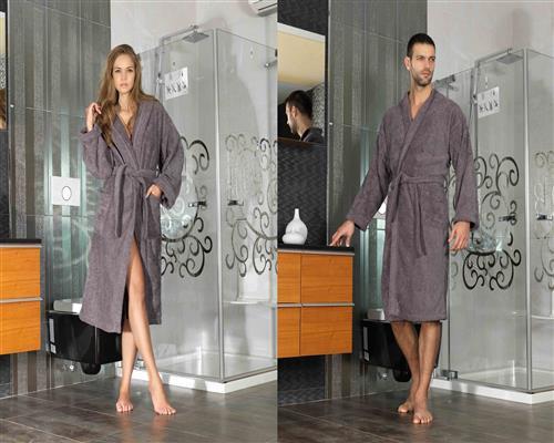 Kimono Damen Herren Frottee Bademantel Saunamantel Morgenmantel Schokobraun